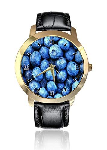 Blueberry Armbanduhr, goldenes Zifferblatt, Unisex, legeres Lederband, Quarzuhrwerk, analoge Armbanduhr für Herren und Damen