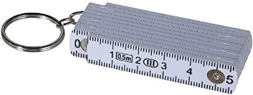 Familienkalender Mini Zollstock 50cm Schlüsselanhänger mit Farbauswahl (weiß)