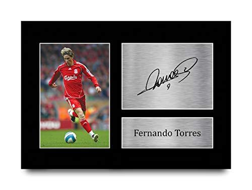 HWC Trading Foto de autógrafo firmada A4 de Fernando Torres Liverpool Gifts para fans y seguidores, A4