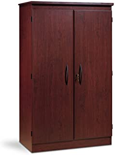 South Shore 7206970 Tall 2-Door Storage Cabinet with Adjustable Shelves, Royal Cherry