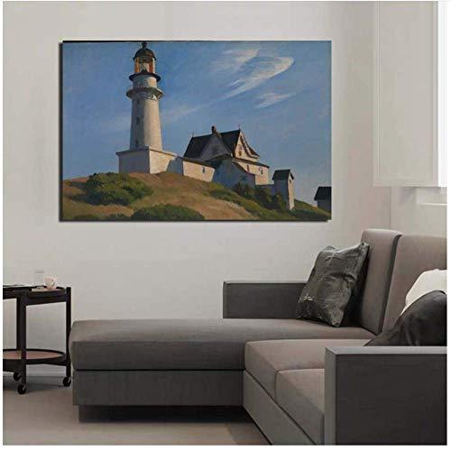 LangGe Foto auf leinwand 70x90cm ohne Rahmen Edward Hopper Leuchtturm Poster und Drucke Bild für Büro Wohnzimmer Home Decor