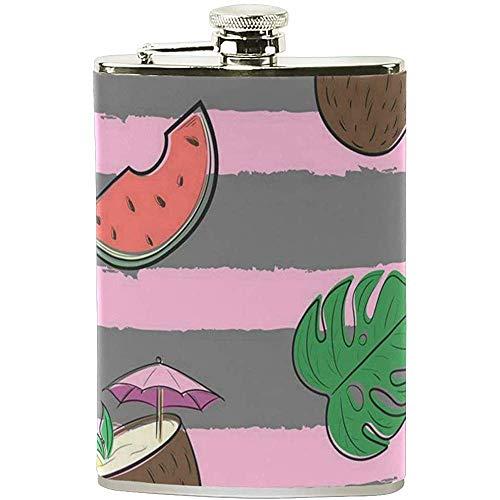 Strawberryran Flachmann Wassermelone und Erdbeere Damen Flachmann 7 Unzen Edelstahl auslaufsicher Flagon Herren-Trinkflaschen Trinken von Alkohol, Whisky, Alkohol, Rum und Wodka