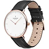 Nordgreen Native Scandinavian 32mm Rose Gold Women's Analog Watch with Black Dial and Black Leather Strap 15092