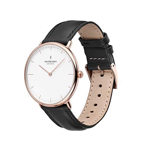 Nordgreen Native skandinavische Uhr in Roségold mit weißem Ziffernblatt und austauschbarem 36mm Leder Armband Schwarz 10054