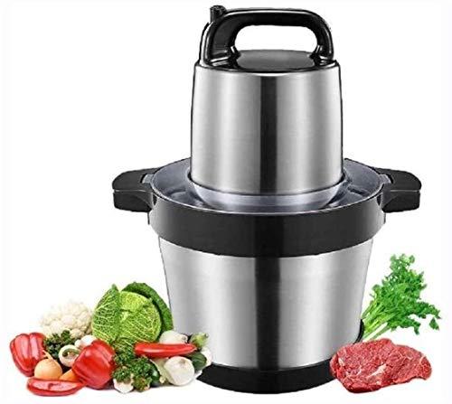 Mini picadora de alimentos de cocina de 1000 W - Procesador de alimentos eléctrico, cortador de frutas y verduras, molinillo de 4 cuchillas de dos niveles, cuenco robusto de acero inoxidable de 6 l