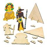 Baker Ross AW809 Kit del Egipto Antiguo, Formas Hechas de Madera con Soporte, Actividad de Manualidades Infantiles para Montar, Decorar y Exhibir, Pack de 6