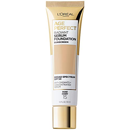 L'Oreal Paris Age Perfect Radiant Serum Foundation with SPF 50, Rose Ivory, 1 Ounce
