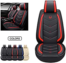 OASIS AUTO OS-003 Leather Car Seat Covers, Faux Leatherette Automotive Vehicle Cushion Cover for Cars SUV Pick-up Truck Universal Fit Set for Auto Interior Accessories (OS-003 Front Pair, Black&Red)
