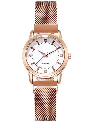 Reloj Mujer Acero Inoxidable Reloj Analógico para Mujer de Cuarzo Relojes de Pulsera Elegante Moda Impermeable Diseño Blanco Esfera…