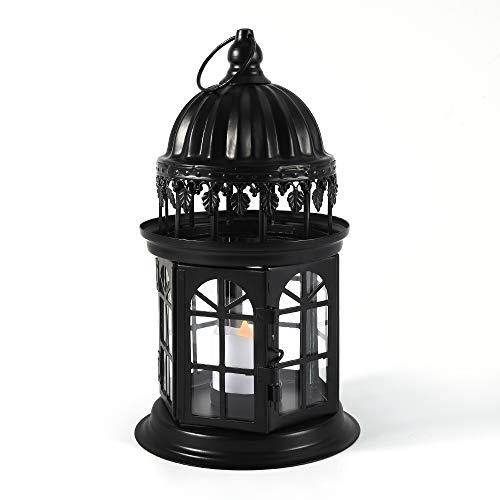 QHYK Lanterna Decorativa Metallo, Vintage Design Dettagli romantici, da Giardino e Feste per Interni e Esterni, con 1 LED Candela Luce,Nero
