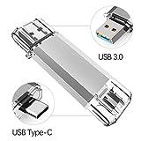USB Stick 64GB, OTG Speicherstick 2-in-1 USB Type C Stick 3.0 USB-Flash-Laufwerke Memory Stick für USB-C Mobiltelefon Geräte (Silber)