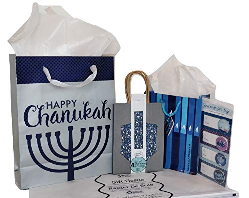 Chanukah Gift Bag Set: 6 Gift Bags, Tissue Paper and Happy Hanukkah Gift Tags - 1 Large Gift Bag, 1 Medium Gift Bag, 4 Small Gift Bags Included