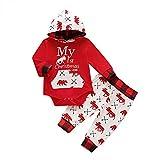 Carolilly Vestito Natale Neonato 2 Pezzi Completo Neonato Tutina/Felpa con Cappuccio Manica Lunga Il Mio Primo Natale+Pantaloni Abito Bambino di Natale 0-24Mesi