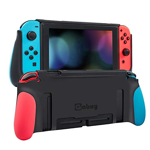 Protective Case for Switch,Dockable Cover Case for Switch,Grip Cover in Silicone with Anti-Scratch and Shock-Absorption Soft TPU(Red and Blue)