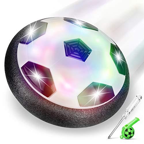 lenbest Air Power Fußbal Hover Ball, für Kinder Haustiere, Training, Drinnen und Draußen, mit Weichen Schaumstoff-Stoßstangen und bunten LED-Lichtern, Schwarz / Weiß
