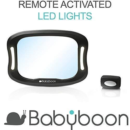 Babyboon Espejo retrovisor bebé Coche Luz LED -  Visión excelente de su bebé en Asiento Trasero a contramarcha.