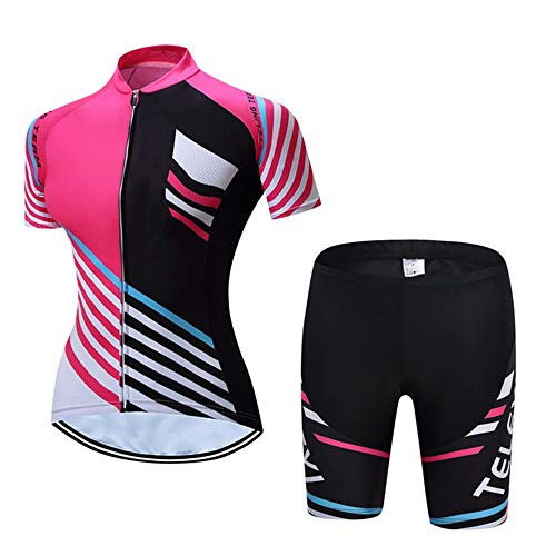Women's Cycling Jersey Women's Breathable Short Sleeved Shorts Riding Suit For Outdoor Sports Hiking And Running Photo Color Suitable For Outdoor Cycling Fitness ( Color : Photo Color , Size : XXL )