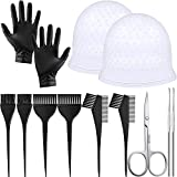 10 Pieces Hair Dye Coloring DIY Tool Kit, 6 Pieces Dye Brush, 2 Pieces Silicone Hair Coloring Cap Highlighting Dye Cap with 2 Hooks, Dye Gloves and Scissors for Salon Home Use