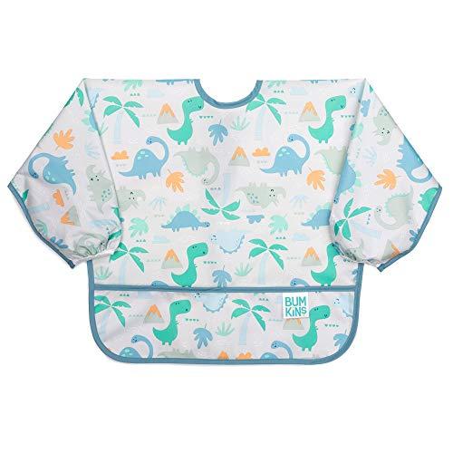 Bumkins Sleeved Bib/Baby Bib/Toddler Bib/Smock, Waterproof, Washable, Stain and Odor Resistant, 6-24 Months - Dinosaurs