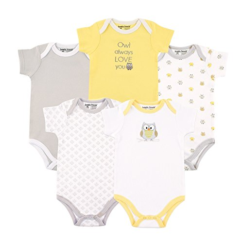 Luvable Friends Unisex Baby Cotton Bodysuits, Yellow and Gray Owl Short Sleeve 5...