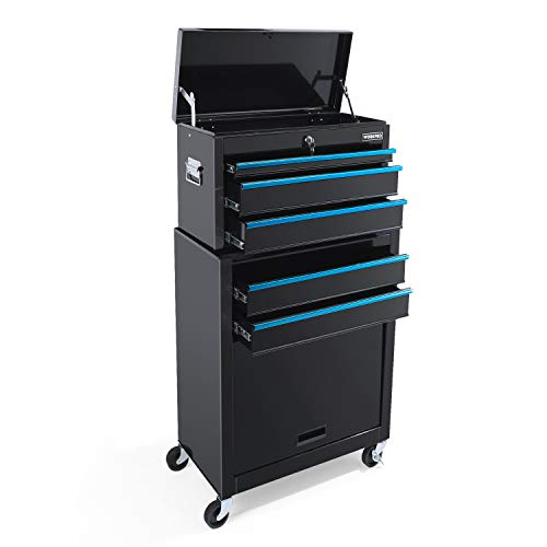 WORKPRO 5-Drawer Rolling Tool Storage Cabinet, Sliding Metal Drawer, Removable Toolbox Organizer for Workshop, Garage
