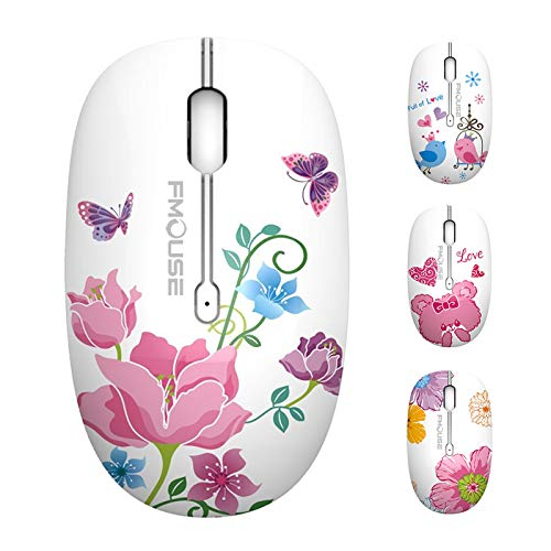 TENMOS M101 Wireless Mouse Cute Silent Computer Mice with USB Receiver, 2.4G Optical Wireless Travel Mouse 1600 DPI Compatible with Laptop, Notebook, PC, Computer (Butterfly)