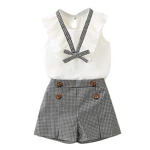 MRULIC Baby Mädchen Outfits Kleidung Bowknot Weste Tops + Plaid Shorts Hosen Sets Anzug 1-6 Jahre(Weiß,130)
