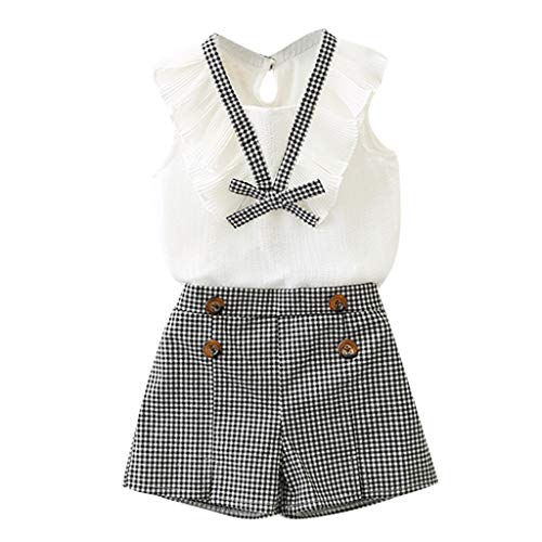JUTOO Kleinkind Kinder Baby Mädchen Outfits Kleidung Bowknot Weste Tops + Plaid Shorts Hose Set (Weiß,120)