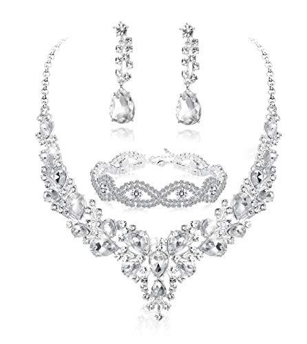 Fiasaso 3pcs Crystal Bridal Jewelry Set for Women Rhinestone...