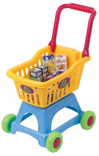 PlayGo 3245 - My Shopping Cart, zusammenklappbarer Einkaufswagen für den Kaufladen, mit Inhalt