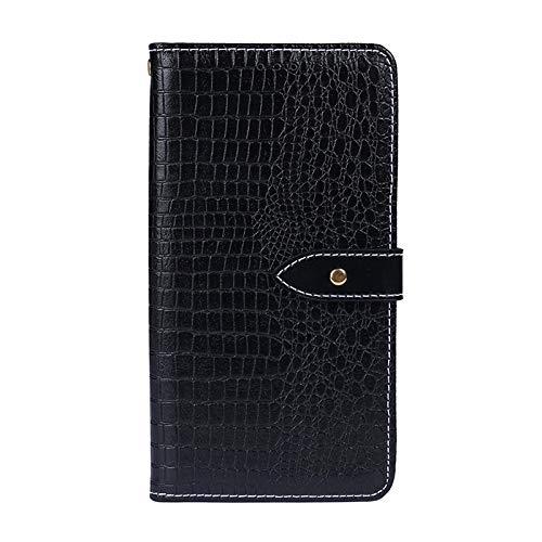 PROTECTIVECOVER+ / for BLACKVIEW BV9800プロコーダイルテクスチャ水平フリップレザーケースホルダー&カードスロット&財布 、スタイリッシュなスマートフォンの保護ケース (Color : ブラック)