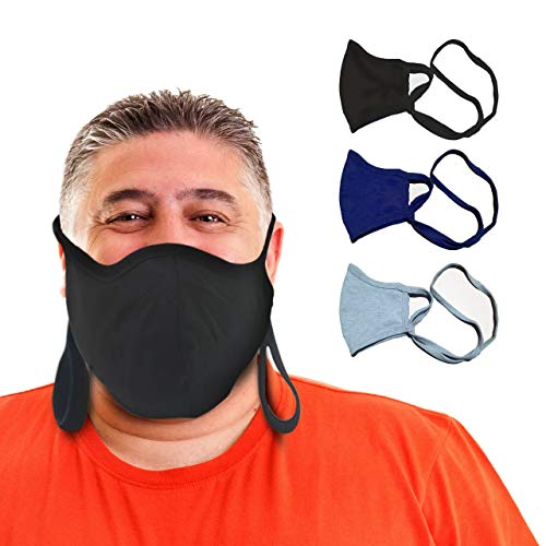 BLU HORN Face Mask Adult Large/XL(Extra Large)Jersey Cotton Face Mask with Filter Pocket-Adjustable loop (XL Black/Blue/Gray3Pack)