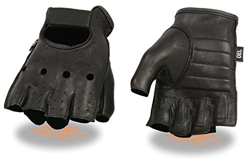 Milwaukee Motorcycle Riding Leather American Deer Skin Fingerless Gloves Very Soft Leather (L Regular)