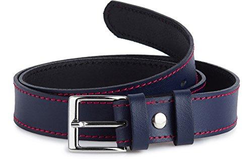 Ladeheid Cinturón de Cuero para Niños K1D5 (Azul Marino/Rojo, 60 cm (Largo total 79 cm))