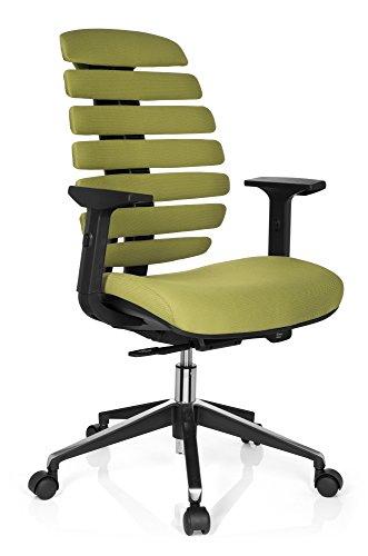 HJH Office - 714530 silla de oficina ERGO LINE II tejido verde, respaldo ergonómico, con apoyabrazos ajustables, muy cómodo, buen acolchado, soporte lumbar integardo, silla giratoria, silla escritorio