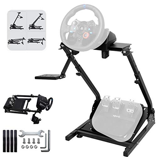 Minneer Wheel Stand Foldable Racing Simulator Steering Wheel Stand Compatible with Logitech G25, G27, G29,G920 Wheels, and Thrustmaster T300RS, TX F458 & T500RS. Wheel & Pedals Not Included.