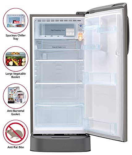 LG 190 L 4 Star Inverter Direct Cool Single Door Refrigerator (GL-D201APZY, Shiny Steel, Base Stand with Drawer) 3