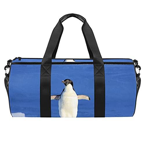 Pingüino animal gimnasio bolsa para hombres y mujeres bolsas de fin de semana deportes viaje bolsa de viaje con bolsillo impermeable