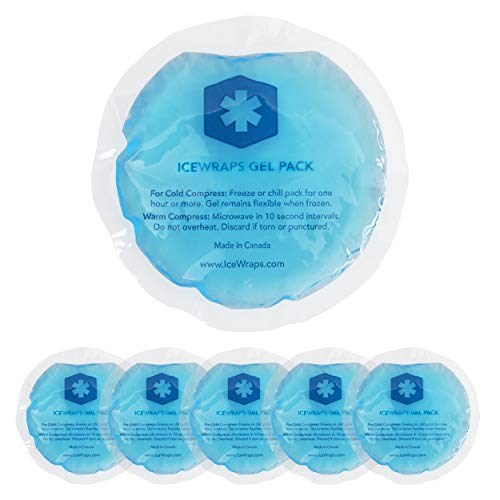 """ICEWRAPS 4"""" Round Reusable Gel Ice Packs Without Cloth Backing - Hot Cold Pack for Kids Injuries, Breastfeeding, Wisdom Teeth, First Aid - 5 Pack"""