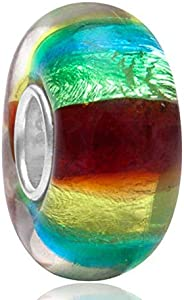 925 plata de ley Murano Lampwork cristal encanto flor encanto de la hoja encanto encanto aniversario encanto para Pandora pulsera (B)
