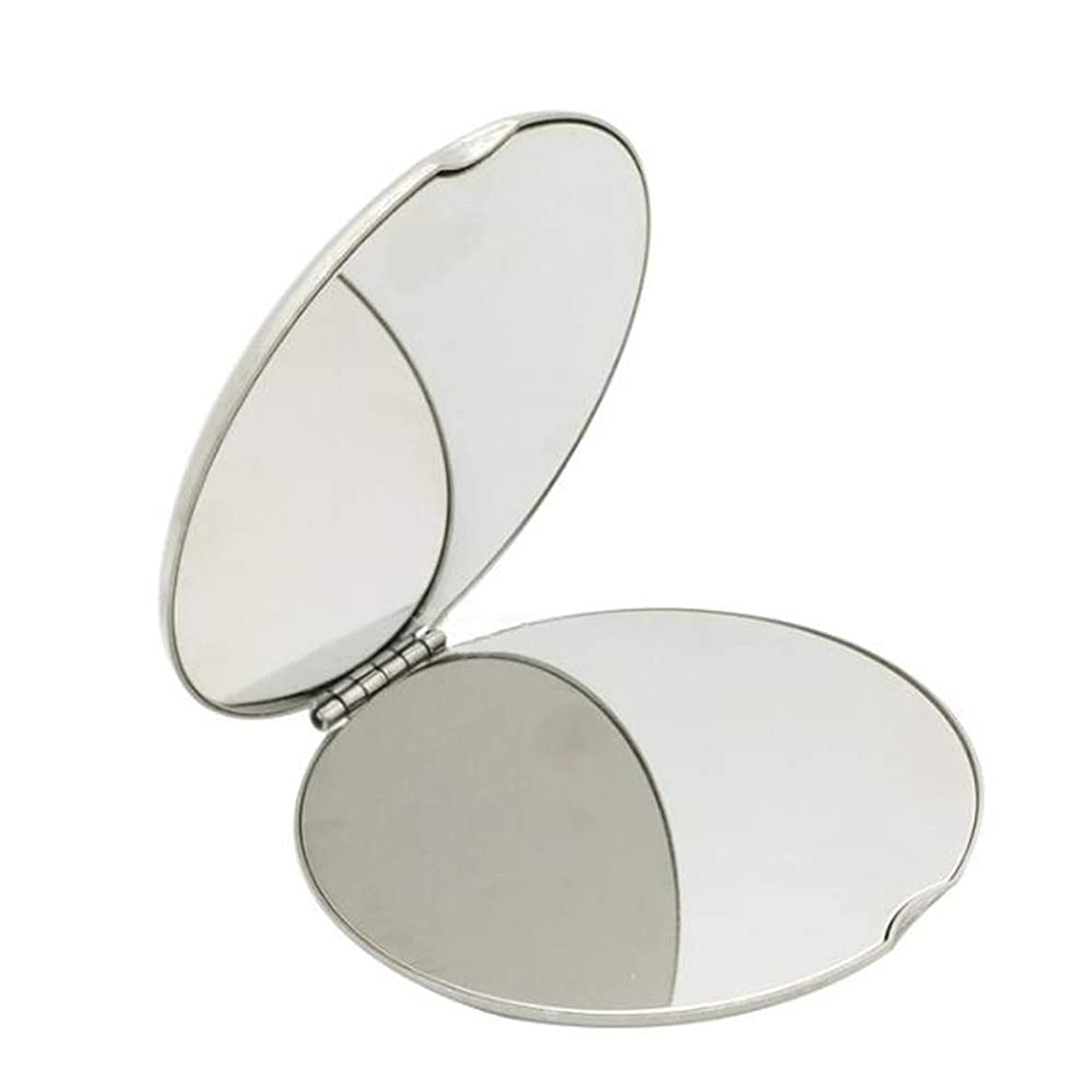 Shatterproof Stainless Steel Ultra Slim Folding Portable Mirror Makeup Unbreakable Camping Mirror For Personal Use,Travelling, Emergency Signaling (Round:6.56.5CM)