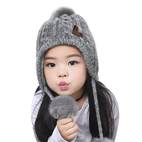 Toddlers Kids Wool Earflap Hat Winter Caps Warm Slouchy Chunky Hat Child Beanie Knit Crochet Merino Pompon Hats Pom Pom Cap for Boys Girls Xmas (Grey)