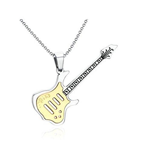 Onefeart Edelstahl Halskette für Männer Musikalische Bedeutung Exquisit Elektrische Gitarre Anhänger 57.5MM