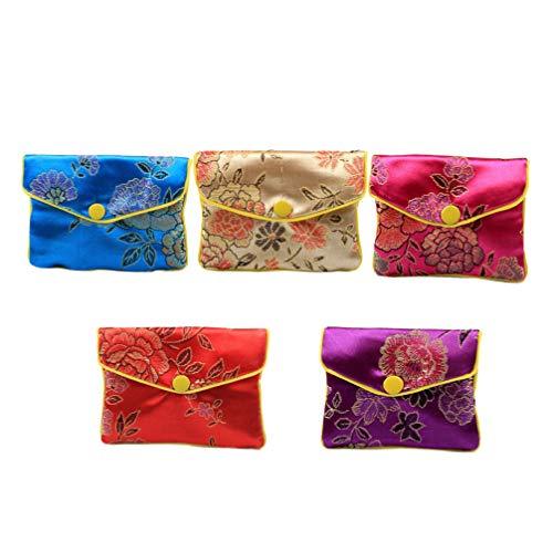 NUOBESTY 12 Stück Schmuck Geschenktüte Chinesischen Stil Brokat Schmuckbeutel Dekorative Halskette Ohrring Geldbörse Tasche für Frauen Damen (Klein)