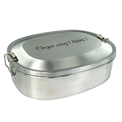 Vesperbox Edelstahl Vesperdose Frühstücksbox Brotdose mit Gravur (Finger Weg! Meins!)