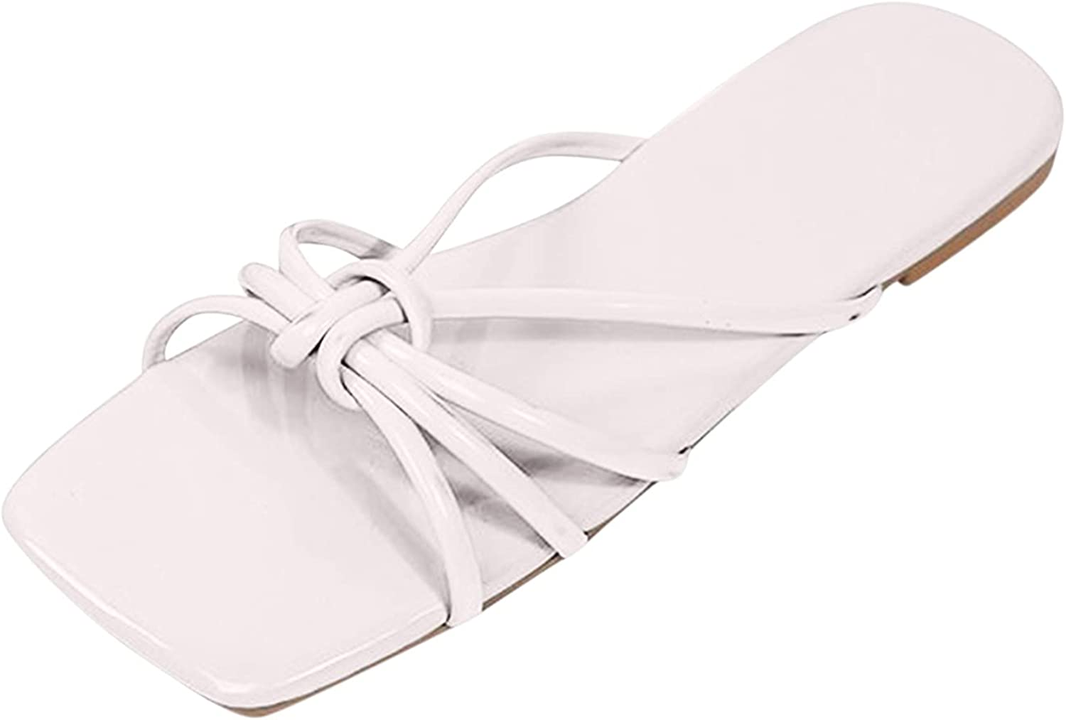 ZiSUGP Summer Fashion Large Size Solid Color Comfortable Open-Toed Flat Slippers