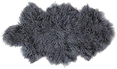 Bambury Mongolian Floor Rug, Slate