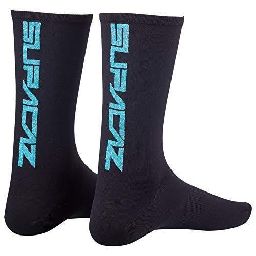 Supacaz Supasox Socken Straight Up Atmungsaktiv Füßlinge Strümpfe Fahrrad Sport Nylon Unisex 37-47, SX, Farbe Schwarz Blau, Größe 37-42