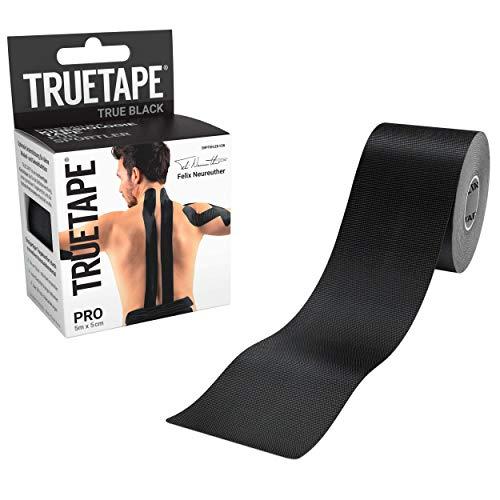 TRUETAPE® PRO - Kinesiologie Tape | Perfekter Tragekomfort I 5m x 5cm | ungeschnitten | Schwarz | Kinesiotape |