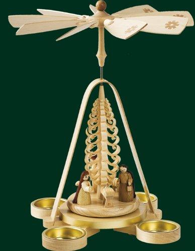 Weihnachtspyramide Erzgebirge Richard Glässer Seiffen Pyramide Chrsisti Geburt für Teelichte, 16688